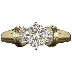 1 Carat Round Brilliant Cut Diamond Ring 18 Carat Yellow Gold Ring