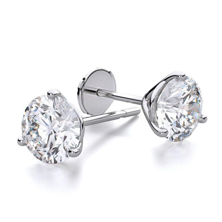 Artist 1 Carat Round Brilliant Cut Diamond Stud Earrings 18 Karat White Gold Setting For Sale