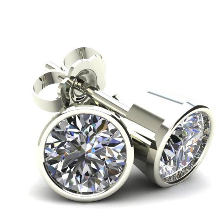 Round Cut 1 Carat Round Brilliant Cut Diamond Stud Earrings 18 Karat White Gold Setting For Sale