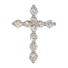 1 Carat Round Cut Diamond Cross Pendant Platinum