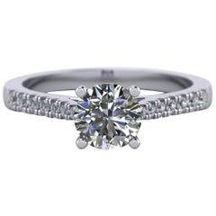 1 Carat, Round Cut Diamond Engagement Ring