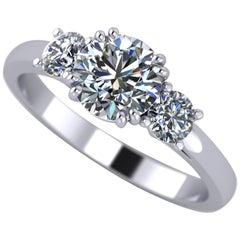 1 Carat, Round Cut Diamond Trilogy Engagement Ring