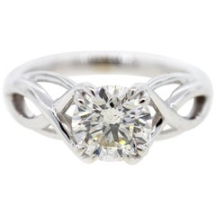 1 Carat Round Diamond Engagement Ring with Custom Twisted Setting
