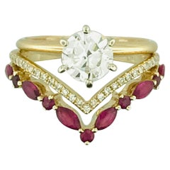 1 Carat Round Diamond Solitaire Engagement Ring and Diamond and Ruby V Ring