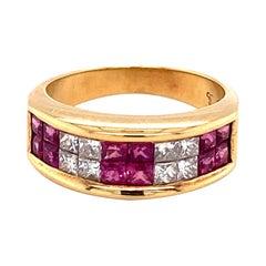 1 Carat Ruby and 0.60 Carat Diamond Ring in 18 Karat Yellow Gold