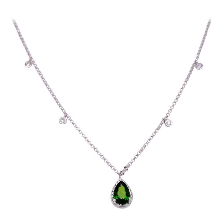 1 Carat Russalite & Diamond Halo Necklace, 14k White Gold Diamond Chain