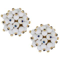 1 Carat Sapphire White Onyx Pompom Earrings 18 Karat in Stock