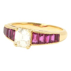 1 Carat Solitaire Asscher Cut Diamond with Baguette Ruby Mount in 18 Karat