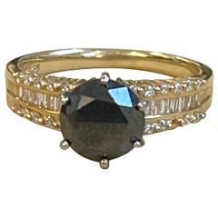 1 Carat Solitaire Black Diamond Traditional Ring/Band 14 Karat Yellow Gold