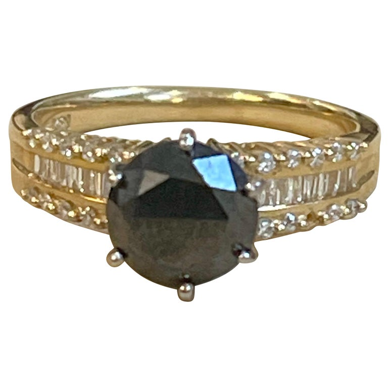 1 Carat Solitaire Black Diamond Traditional Ring/Band 14 Karat Yellow Gold For Sale