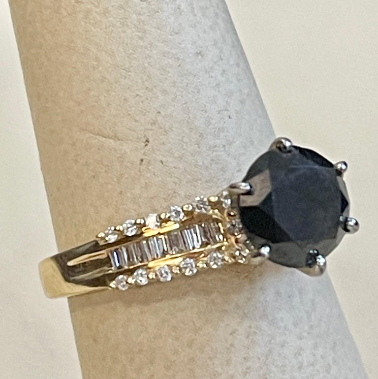 1 Carat Solitaire Black Diamond Traditional Ring/Band 14 Karat Yellow Gold For Sale 5