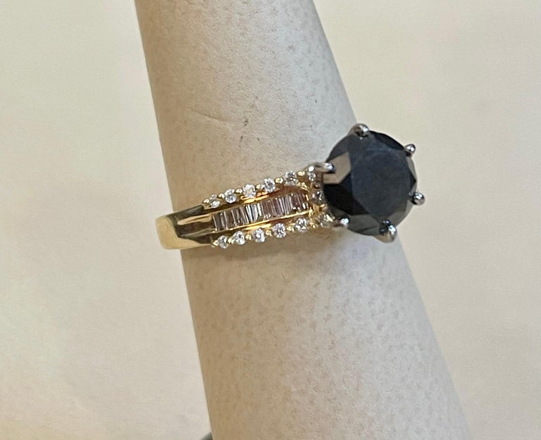 1 Carat Solitaire Black Diamond Traditional Ring/Band 14 Karat Yellow Gold For Sale 6
