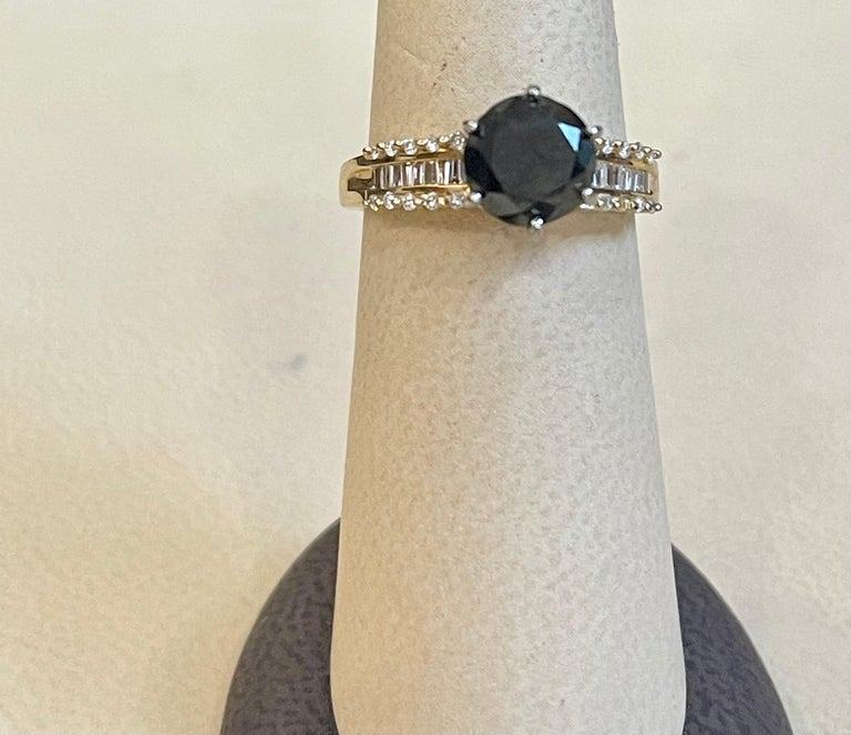 1 Carat Solitaire Black Diamond Traditional Ring/Band 14 Karat Yellow Gold For Sale 7