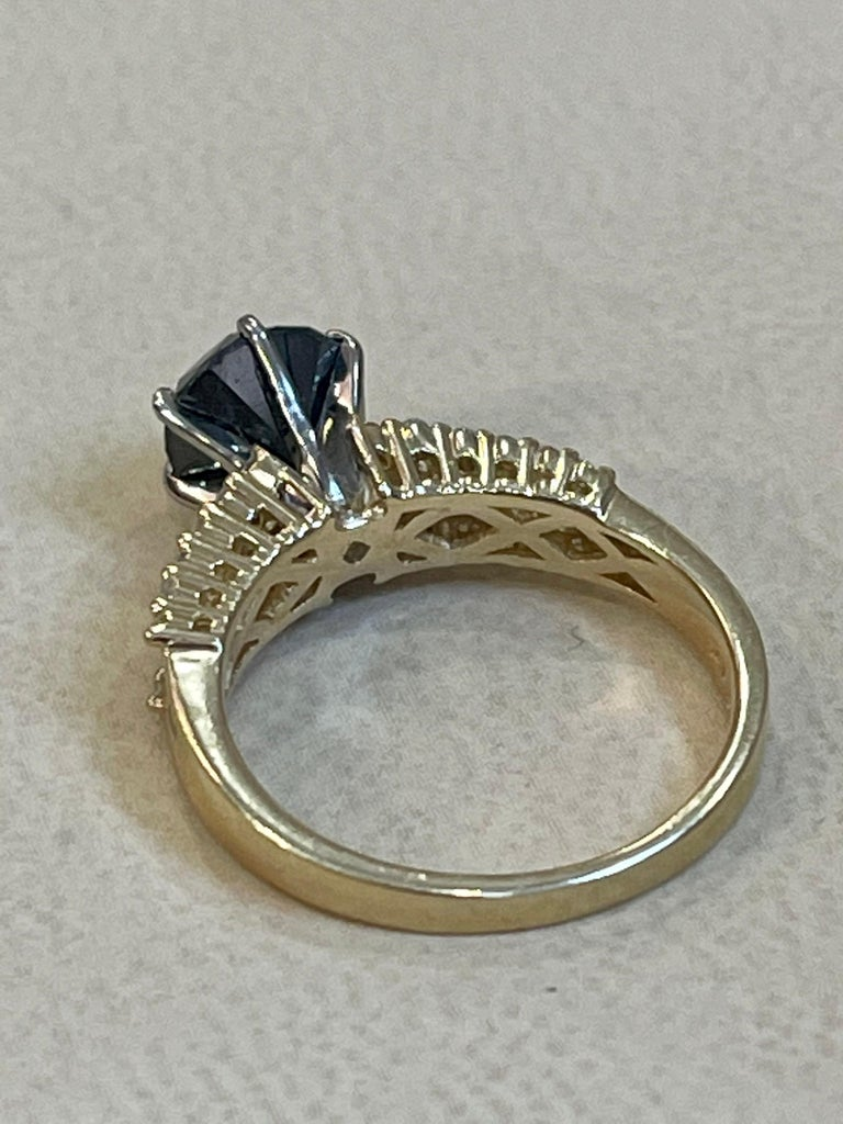 1 Carat Solitaire Black Diamond Traditional Ring/Band 14 Karat Yellow Gold In Excellent Condition For Sale In Scarsdale, NY