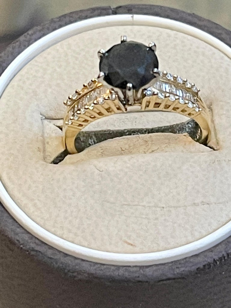 Women's 1 Carat Solitaire Black Diamond Traditional Ring/Band 14 Karat Yellow Gold For Sale