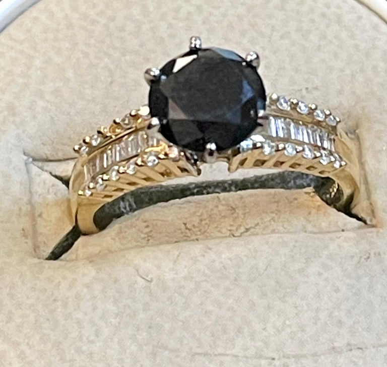 1 Carat Solitaire Black Diamond Traditional Ring/Band 14 Karat Yellow Gold For Sale 1