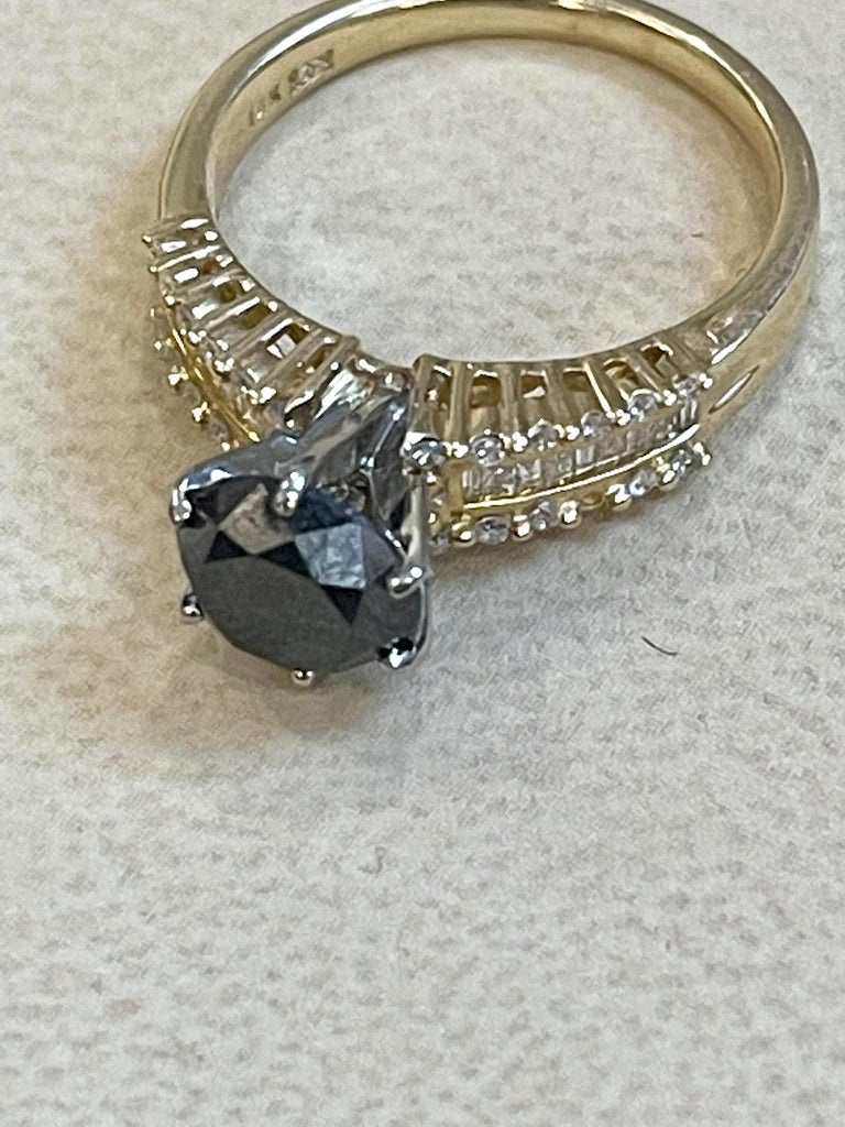 1 Carat Solitaire Black Diamond Traditional Ring/Band 14 Karat Yellow Gold For Sale 3
