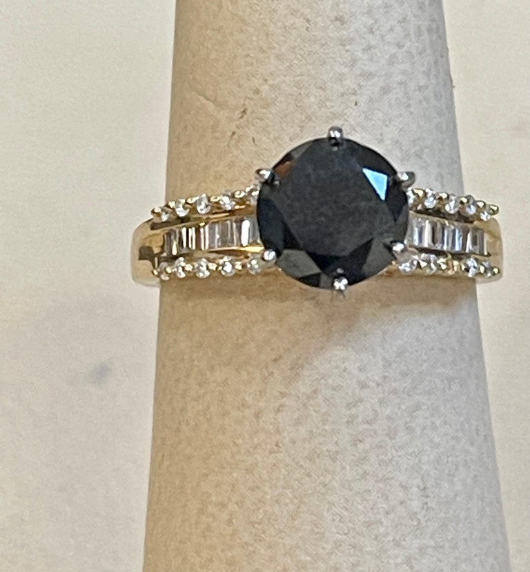 1 Carat Solitaire Black Diamond Traditional Ring/Band 14 Karat Yellow Gold For Sale 4