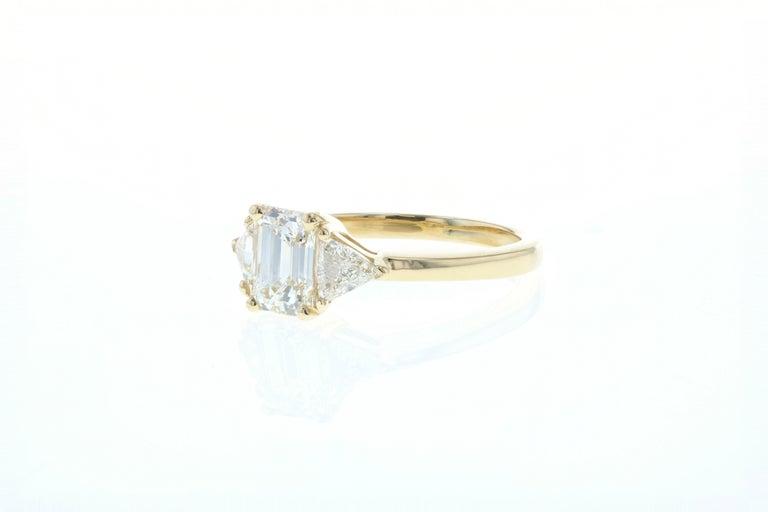 Art Deco 1 Carat Three-Stone Emerald Cut Diamond Engagement Ring 'GIA' For Sale