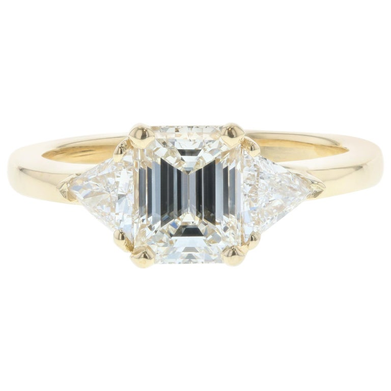 be27cf65a 1 Carat Three-Stone Emerald Cut Diamond Engagement Ring 'GIA' .