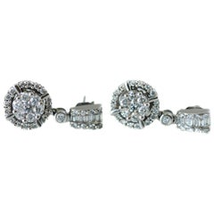 1 Carat Total Diamond Drop Earrings in 14 Karat White Gold