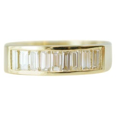 1 Carat Total Emerald Cut Diamond and 18 Karat Yellow Gold Band Ring
