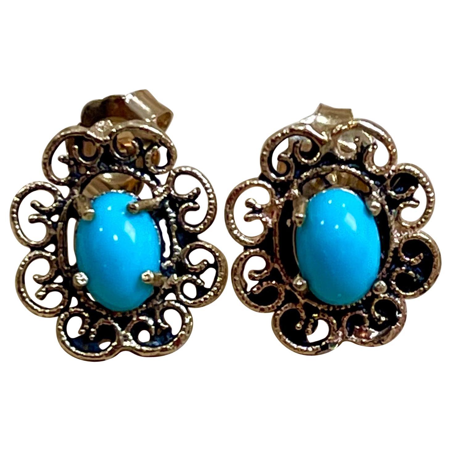1 Carat Turquoise 14 Karat Yellow Gold Earrings, Stud Post Earring, Vintage