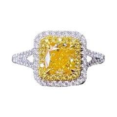 1 Carat Yellow Diamond 18 Karat White Gold