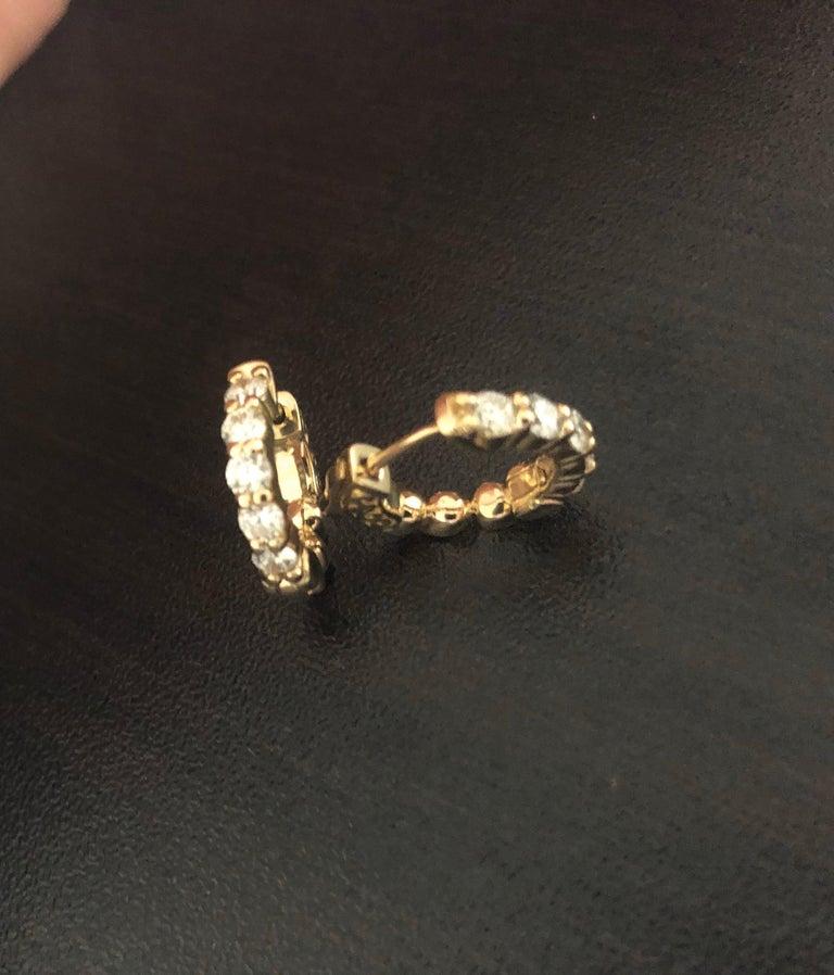 Modern 1 Carat Yellow Diamond Huggies For Sale