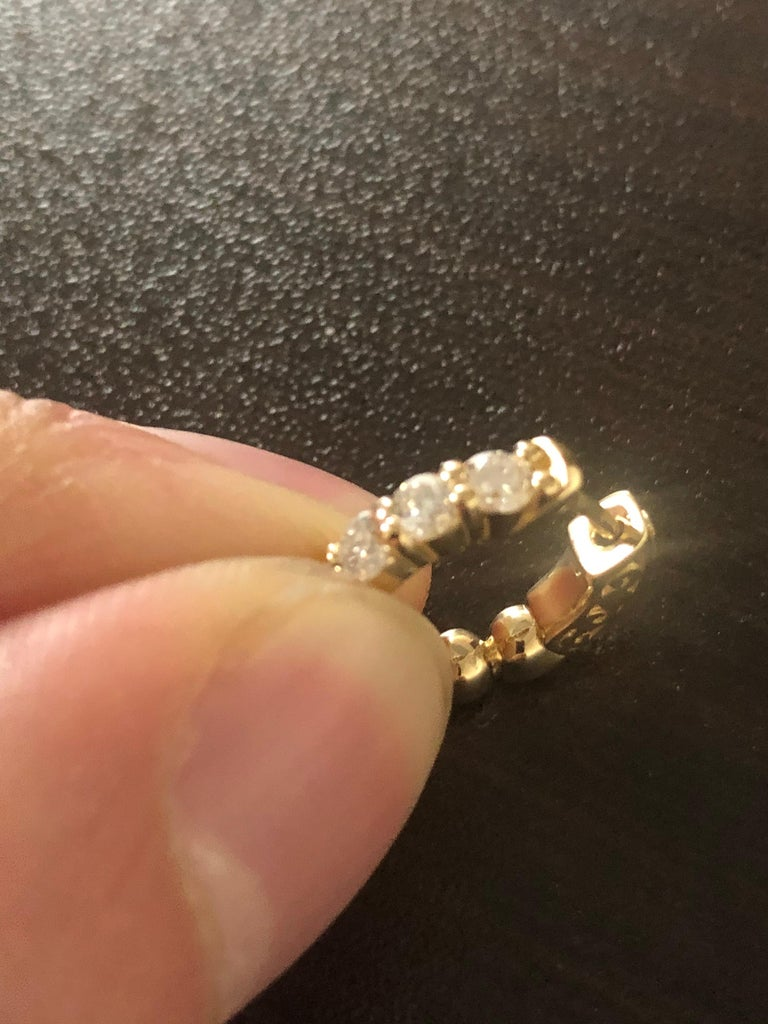 1 Carat Yellow Diamond Huggies In New Condition For Sale In Great Neck, NY