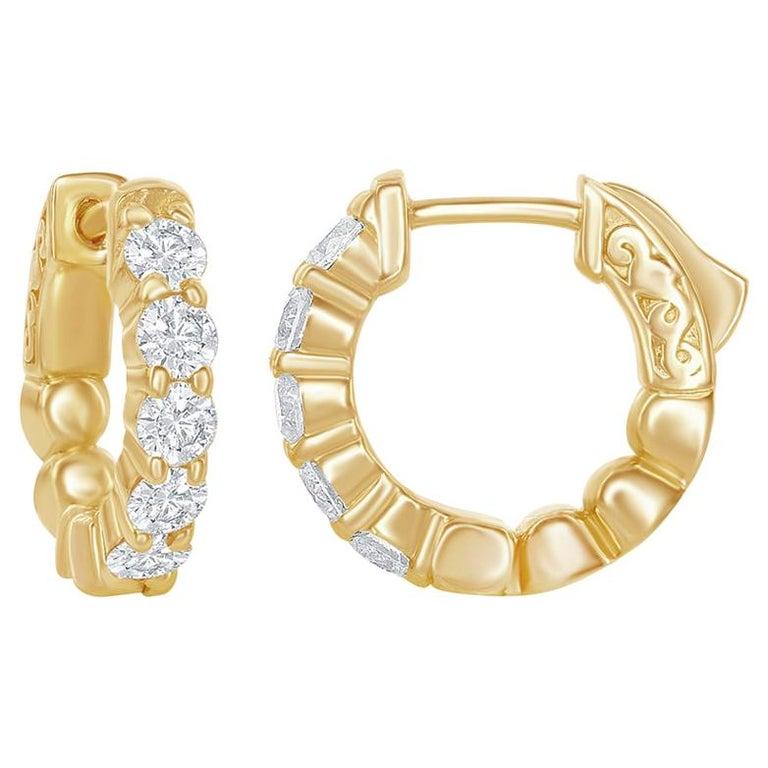 1 Carat Yellow Diamond Huggies For Sale