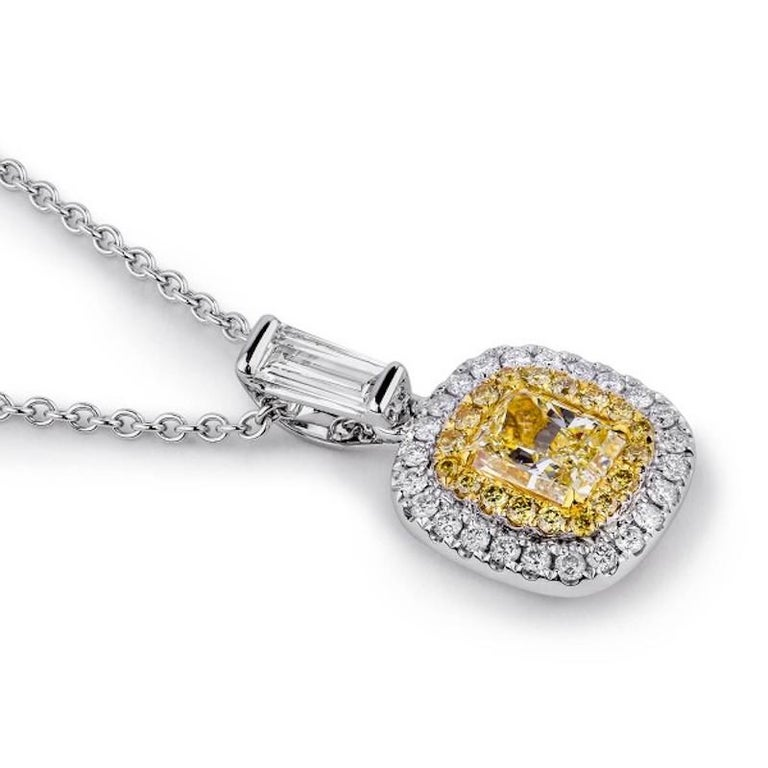 Women's or Men's 1 Carat Yellow Diamond Necklace For Sale