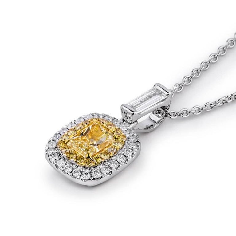 1 Carat Yellow Diamond Necklace For Sale 1