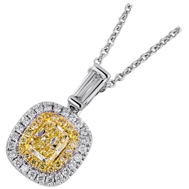 1 Carat Yellow Diamond Necklace For Sale
