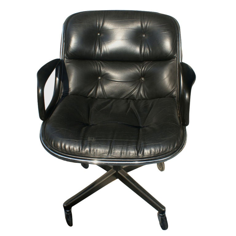 Mid-Century Modern 1 Charles Pollock for Knoll Black Leather Armchair For Sale