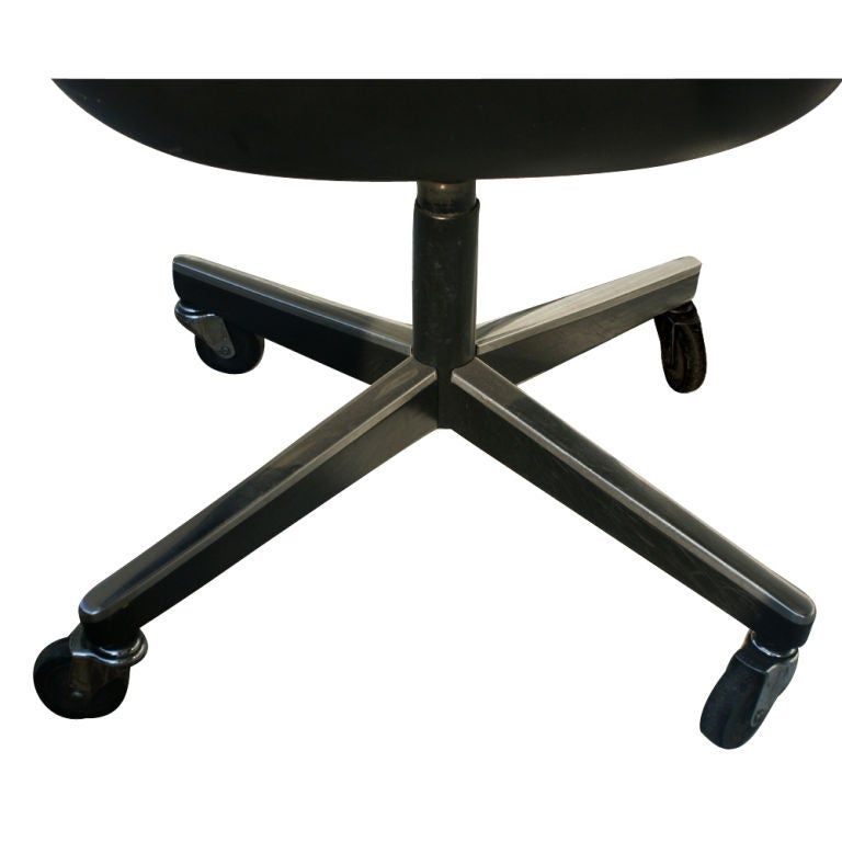 Steel 1 Charles Pollock for Knoll Black Leather Armchair For Sale