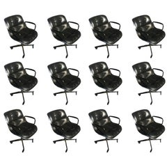 1 Charles Pollock for Knoll Black Leather Armchair