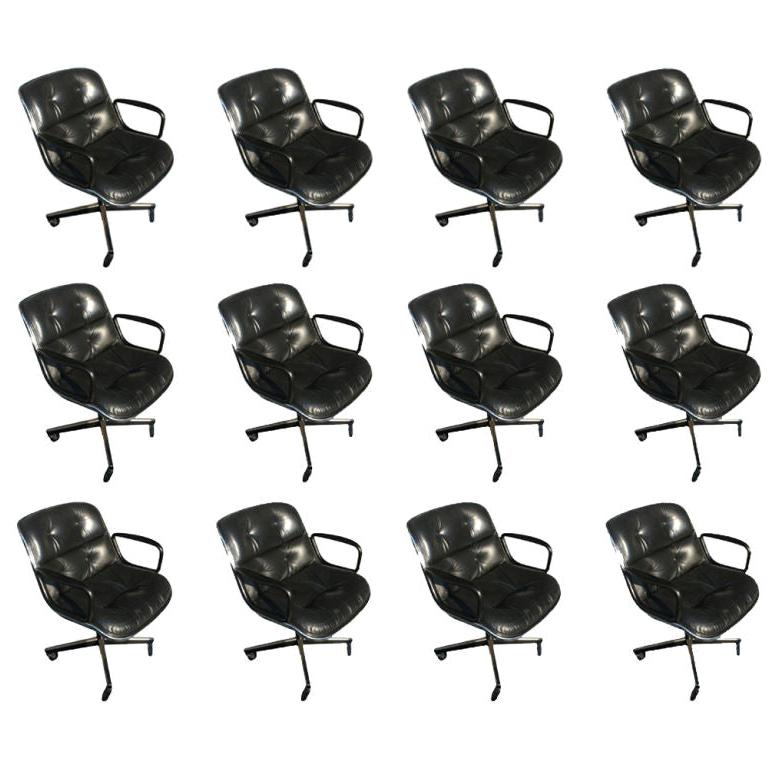 1 Charles Pollock for Knoll Black Leather Armchair For Sale