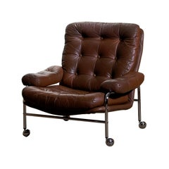 1 Chrome and Brown Leather Easy / Lounge Chair by Scapa Rydaholm, Sweden, 1970s