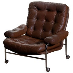 1 Chrome and Brown Leather Easy or Lounge Chair by Scapa Rydaholm, Sweden, 1970s