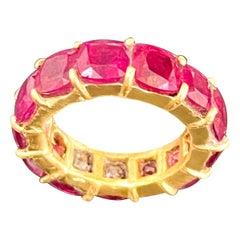1 Ct Each Cushion Shape Treated Ruby 13 Ct Anniversary Eternity Band/Ring 18KYG