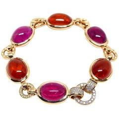 1 Fine Rubelite/Mandarin Garnet Cabouchons and Diamond Red Gold Bracelet