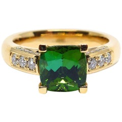1 Fine Tourmaline and Diamonds 18 Karat Rose Gold Ring