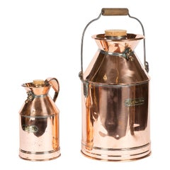 1 Gallon and 5 Gallon Copper and Brass Cylindrical Imperial Measuring Vessels