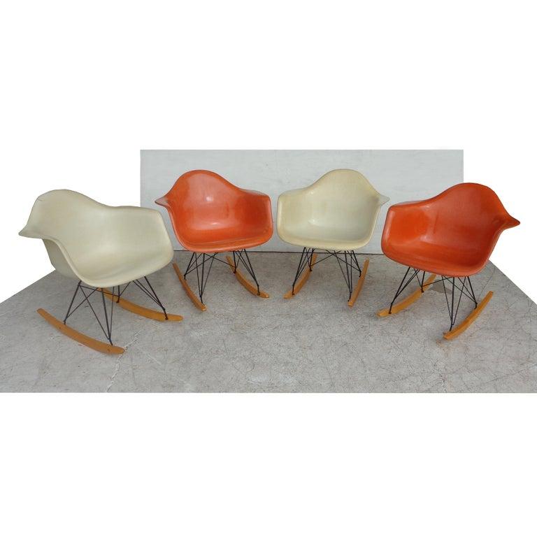 1 Herman Miller Parchment Shell Fiberglass RAR Rocker by Eames For Sale 3
