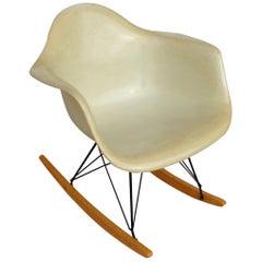 1 Herman Miller Parchment Shell Fiberglass RAR Rocker by Eames