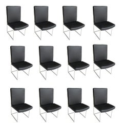 1 High Back Leather and Chrome Chair Designed by Milo Baughman