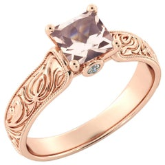 1 Karat 14 Karat Rose Gold Morganite and Diamonds Princess Engagement Ring