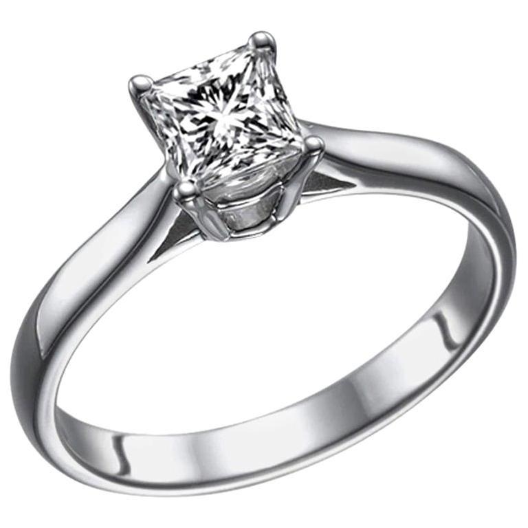 1 Karat 14 Karat White Gold Princess Diamond Ring, Classic Cathedral Ring