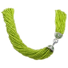 Leyser 18k White Gold Peridot Necklace with Tsavorites Clasp
